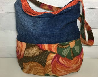 Style BOHO vintage, unique, tote bag, recycled clothing, eco-friendly bag