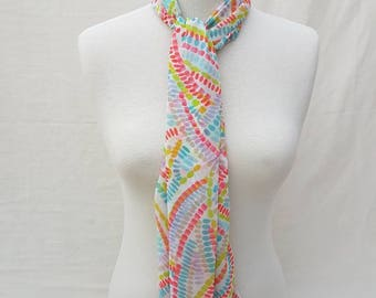 Colourful Chiffon Scarf/Multicoloured stole/Spotty wrap/Gift For her/Gift For mum/Chiffon accessories/Bright infinity scarf/Vibrant chiffon
