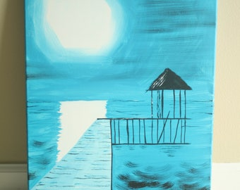 Night Dock Acrylic Painting