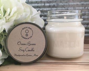 Ocean Breeze soy wax candle, 8 oz mason jar, summer candle, ocean candle, scented candles, soy candles handmade, aromatherapy soy candles