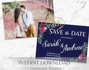 Navy Blue| Burgundy|Printable Save the Date|Floral Save the Date|Marsala Save the Date|Garnet|Boho|Mountain|DIY Wedding|INSTANT|Postcard
