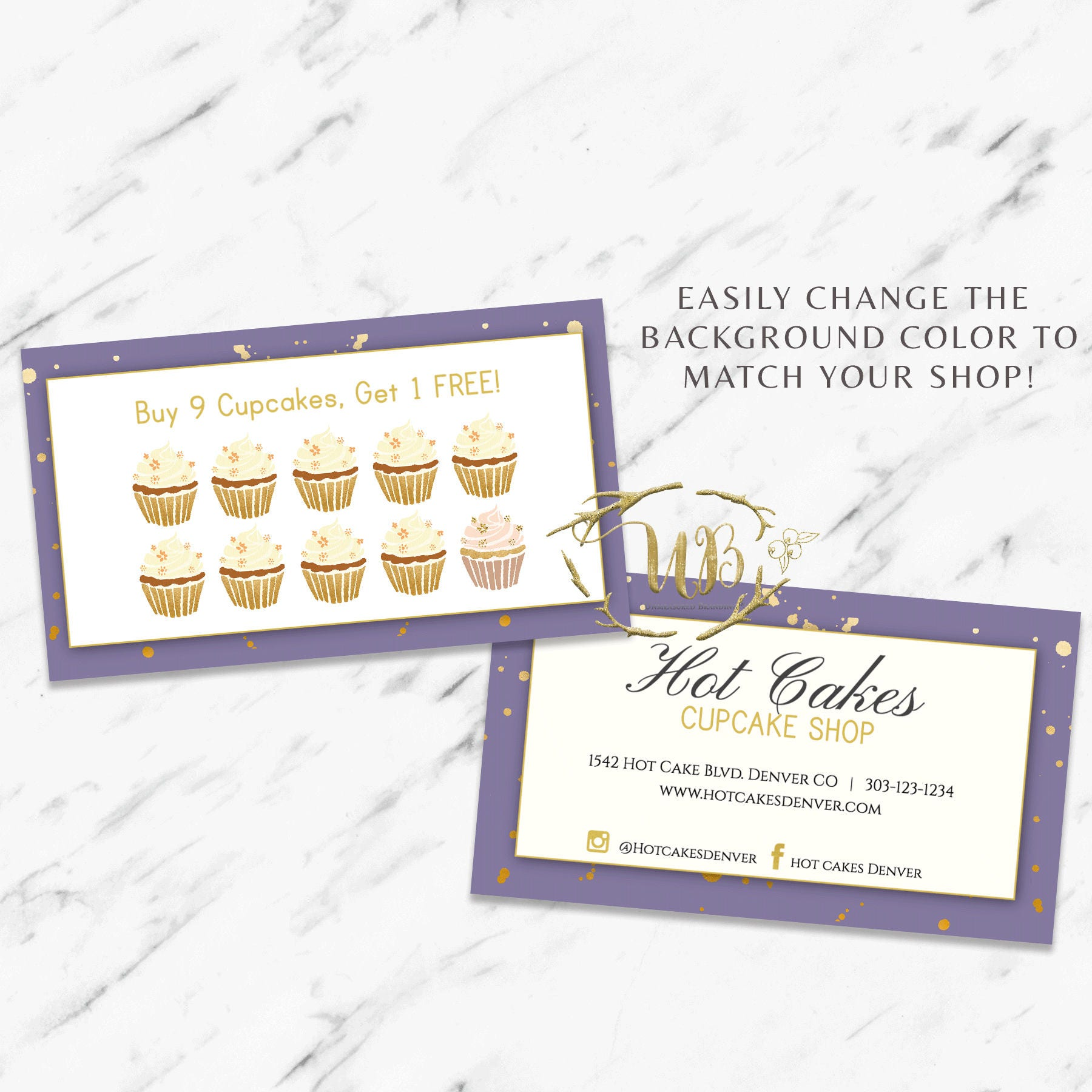 Bakery Business Card and Loyalty Punch Card Template