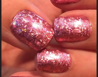 Pink foil False Nails