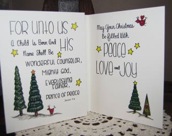 Christmas Cards- Package of 8 Christian Christmas Cards- Hand Lettered and Designed- Framable Artwork