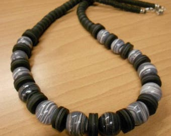 "Long ""Black"" polymer clay necklace."