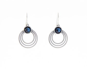 Cubic Zirconia; Blue Circle Drops / Sterling Silver Earrings / Gift For Her