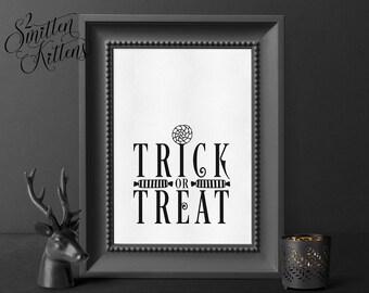 Trick or Treat Halloween Printable Art, Art Print, Halloween Art, Halloween Printable Sign, Instant Download Art, Printable Art, CLASSIC