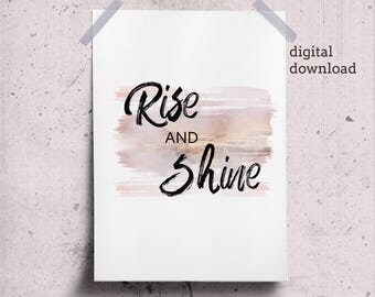 Rise and Shine Printable Kids Wall Art Typography Nursery Inspirational Quote Toddler Art Print, Inspiring Quotes Poster Kids Decor