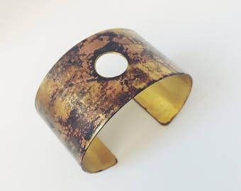 Brass Cuff Bracelet with circle cuff with patina brass, hole, geometric, bracelet bracelet, unique, one of a kind, handmade