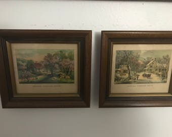 Two Small Vintage Prints by N. Currier & Ives - Americana!