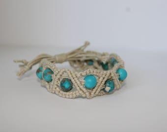 Tan Macrame Bracelet with Stone Beads