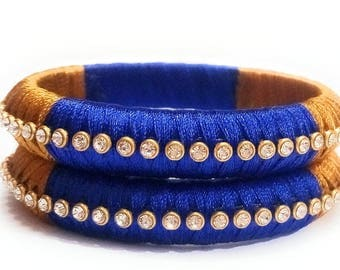 Blue and Golden Silk Thread Bangle