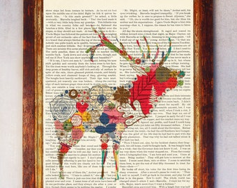 Reindeer made by Flowers Art Print, Rustic Flower Poster Gift, Book page print, Dictionary floral art, Reindeer Book Page Print, Floral Art
