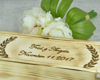Wine Box, Dark Wood Wine Box, Walnut, Personalized Wine Box, Wedding Wine Box, Ceremony Wine Box, Anniversary Wine Box, Custom Engraved Wine