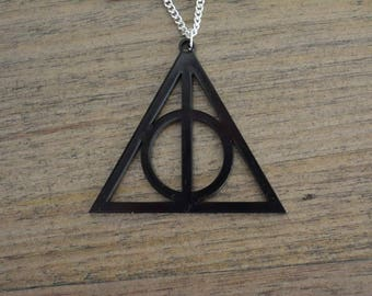 Harry Potter Deathly Hallows laser cut necklace