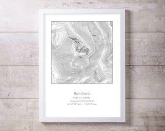 Ben Nevis, Scotland UK Topography Elevation Print Wall Art