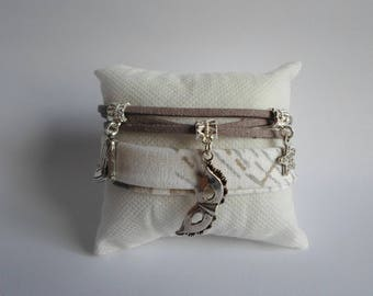 Fabric strap and suede tone gray and white