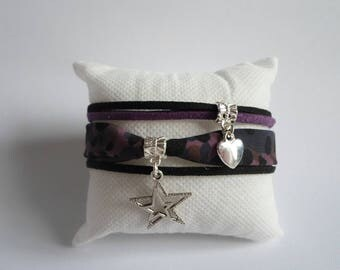 Your purple suede and fabric bracelet