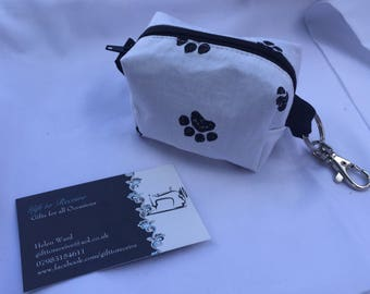 Puppy/Dog Bag Holder in pawprint fabric, Doggy Bag, can be used for dog treats, poo bags, handy keyfob, clips on to bag, keys, lead