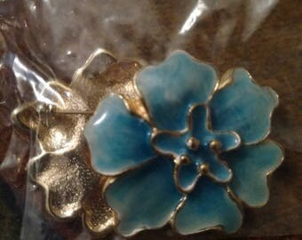 Turquoise/Aqua enameled flower two Brooches