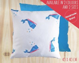 Whale Cushion, Nautical Cushion, Children's Cushion, Baby Cushion, Animal Cushion, Square Cushion, Nursery Cushion, Cushion Cover, Blue