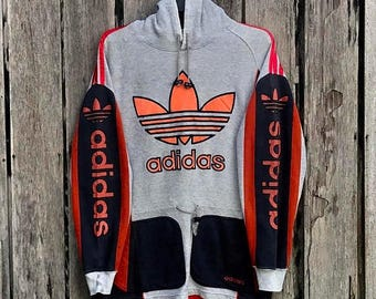 Clearance Sale 30% Rare!!! Vintage adidas multicolour spell out big logo hoodie sweatshirt jumper/ pullover / sweater /hip hop sportswear sw
