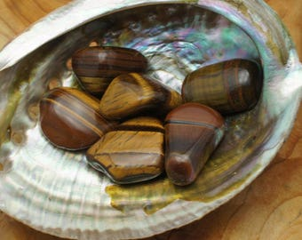 Gold Tigers Eye Tumbled Stones - for Luck and Protection