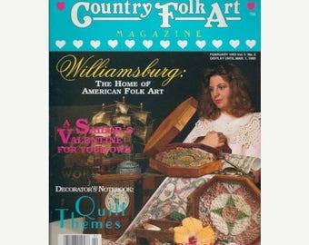 Summer Sale Country Folk Art Magazine February 1993 Valentine, Quilting, Board Games
