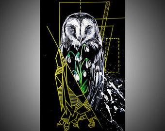 Owl watercolor painting, Owl painting, Bird painting, Bird illustration, Bird drawing, Bird nursery, Owl nursery, Bird decor, Owl decor
