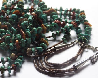 X-Long Turquoise Spiny Oyster Heishi Bead 3-Strand Necklace, Santo Domingo Pueblo, New Mexico, Native American.