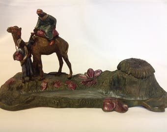 Antique Austrian Cold Painted Spelter Arab Theme Inkwell