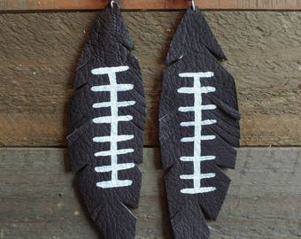 Leather feather football earings