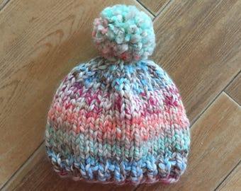 Chunky Hand Knit Pom Pom Hat