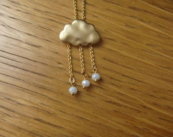 Autumn and pink cloud and raindrops: beaded necklace