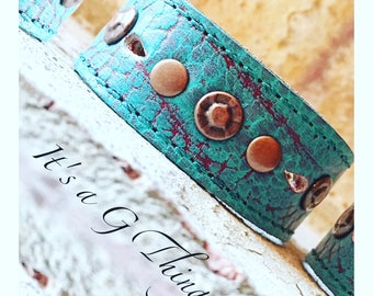 Turquoise Color Leather Cuff