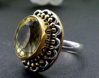 Natural Citrine Oval Gemstone Ring 925 Sterling Silver R106