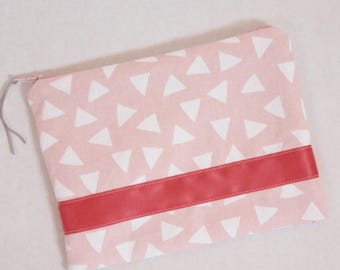 Pink floral cotton triangle pouch - lined