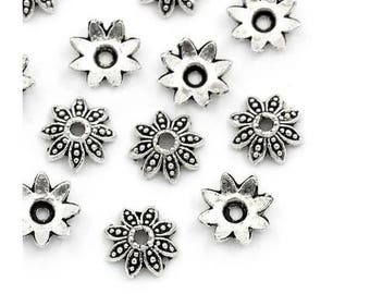 Beads, bead caps, caps for beads, flower, flowers, silver, 8 mm