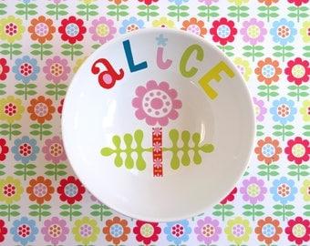 Personalized flower ROSE porcelain bowl
