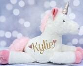 Baby Girl's Personalized Unicorn Plush, Unicorn Toy, Unicorn Stuffed Animal, Flower Girl Gift, First Birthday Gift, Newborn Gift