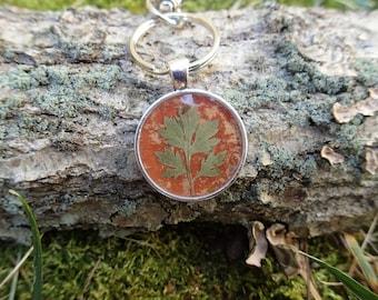 Mugwort leaf and river birch bark silver keychain