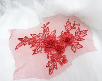Double Layers 3D Embroidery Colorful Lace Applique, Rose Pink/Pink/Red/Wine Red, Sell By Mirror Pair