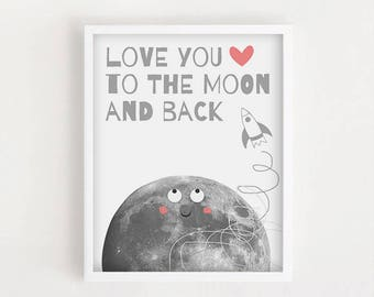 Minimalist Nursery Art Kids Room Art I Love You Print Printable Kid Poster Love You To The Moon And Back Neutral Nursery Simple Kid Poster