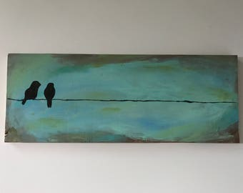 Acrylic painting- two black birds on a wire