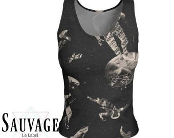 AstrO - Athletic (like for yoga) (or not) Fitted tank top for the wild ones - Totally handmade in Montreal - S to XL