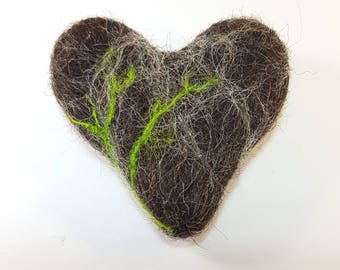 Stone Heart, Needle felt heart, Stone, Natural, Needle felt, Heart, Rock Heart,