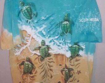 1996 Liquid Blue Scuba Aruba Sea Turtle Tee