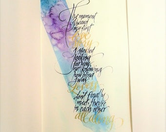 Made to order calligraphy vows/poetry/quotes