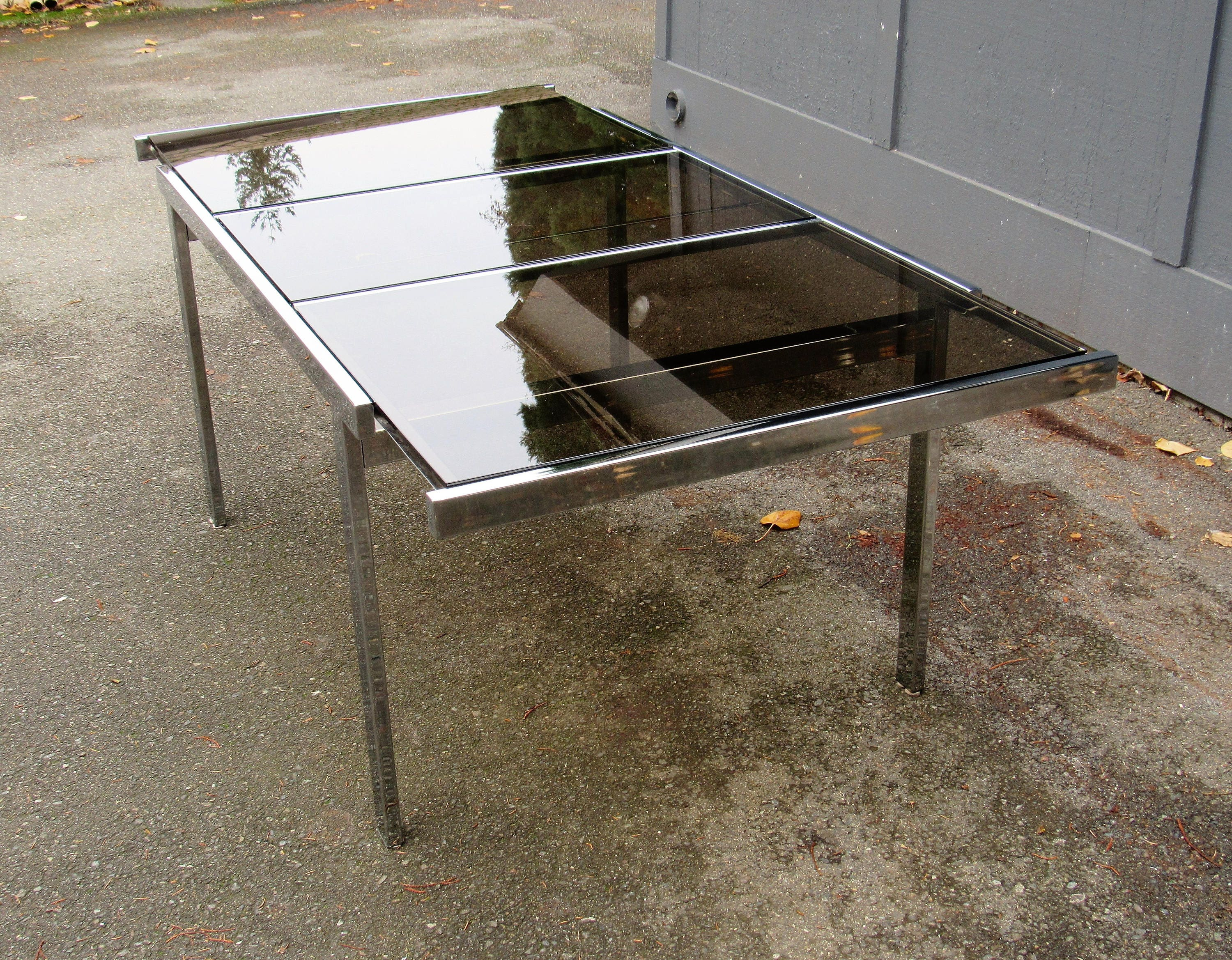 Vintage Milo Baughman Mid Century Expandable Chrome And Smoked Glass Dining  Table