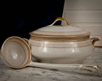 J & G Meakin Art Deco Milan Covered Tureen with Ladle – Gold White – Porcelain – 1920s